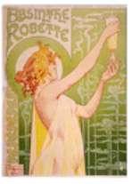 Absinthe Robette. Affiche publicitaire belge de 1896 représentant une jeune femme tenant un verre d'absinthe. Source: Bibliothèque du Congrès américain - domaine public