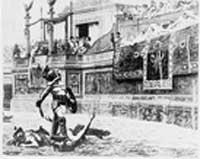 Gravure représentant un gladiateur victorieux, lors des jeux du Colisée, à Rome. Source : Library of Congress, Prints and Photographs Division